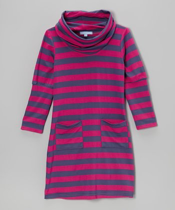Purple & Pink Stripe Cowl Neck Dress - Girls