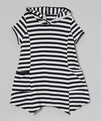 Black & White Stripe Hooded Pocket Dress - Toddler & Girls