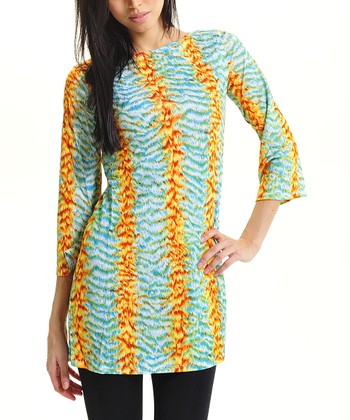Orange & Green Abstract Boatneck Tunic