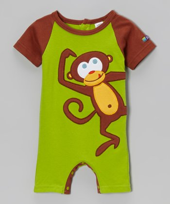 Green & Brown Monkey Romper - Infant