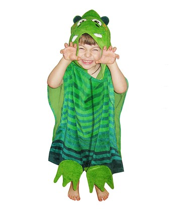 Green Stripe Dinosaur Hooded Towel & Bag
