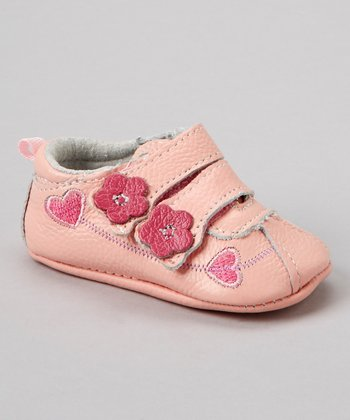 Pink Heart Flower Double-Strap Bootie