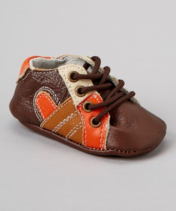 Brown & Orange Lace-Up Bootie