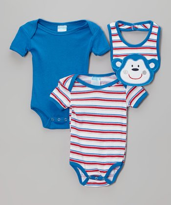Royal & Red Stripe Bodysuit Set