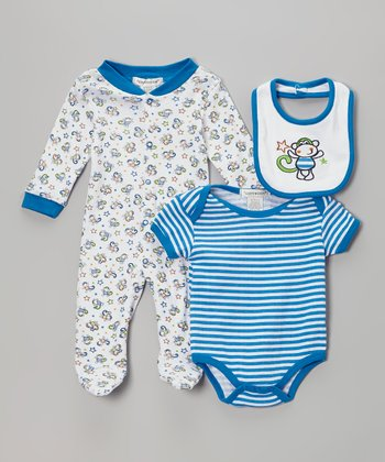 Royal Blue Monkey Footie Set