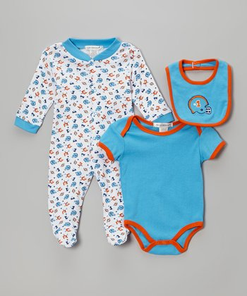 Light Blue Football Footie Set