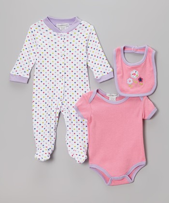Lavender Dot Footie Set