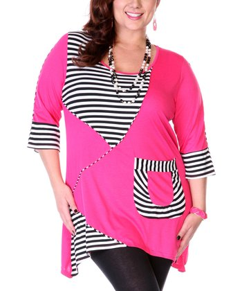 Pink & Black Stripe Color Block Tunic - Plus