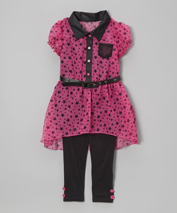 Dark Pink Star Belted Hi-Low Tunic & Leggings - Girls