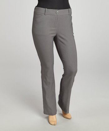 Medium Gray Millennium Basic Solid Straight-Leg Pants - Plus