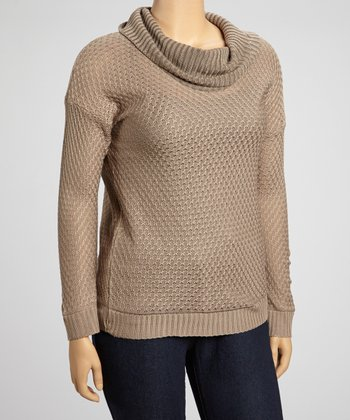 Mocha Cowl Neck Sweater - Plus