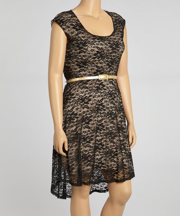 Black & Tan Lace Belted Dress - Plus