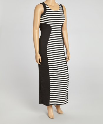 Black & White Stripe Color Block Dress - Plus