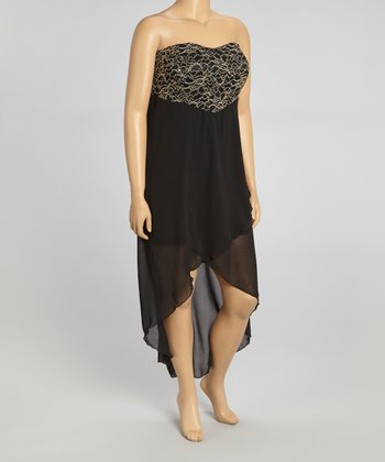 Black & Gold Embellished Hi-Low Strapless Dress - Plus