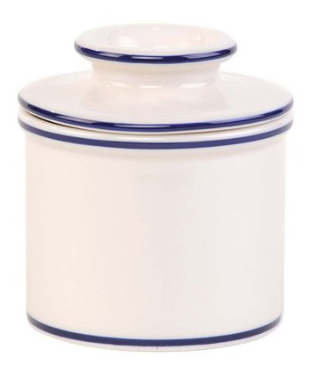 White & Blue Banding Butter Crock