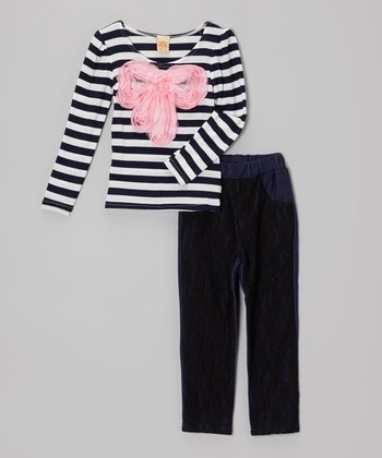Black & Pink Stripe Bow Top & Jeggings - Toddler & Girls