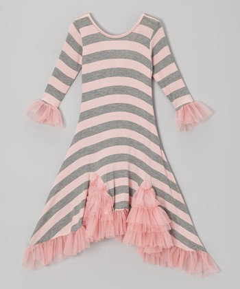 Gray & Pink Stripe Flamenco Sidetail Dress - Toddler & Girls