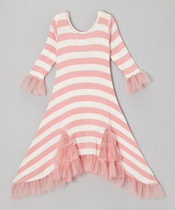 Pink & Crème Stripe Flamenco Sidetail Dress - Toddler & Girls