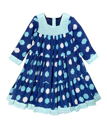 Navy Blue Ikat Polka Dot Tiered Dress - Toddler & Girls