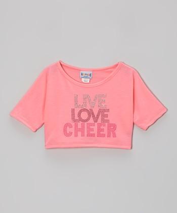 Pink 'Live Love Cheer' Rhinestone Crop Top - Girls