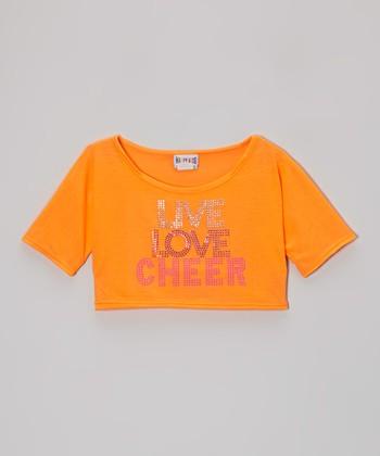 Orange 'Live Love Cheer' Rhinestone Crop Top - Girls