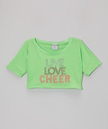 Lime 'Live Love Cheer' Rhinestone Crop Top - Girls