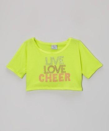 Yellow 'Live Love Cheer' Rhinestone Crop Top - Girls