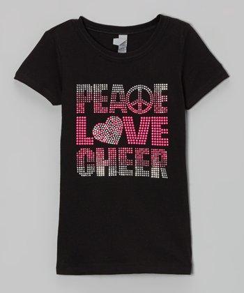 Black 'Peace, Love, Cheer' Rhinestone Tee - Girls