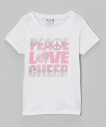 White 'Peace, Love, Cheer' Rhinestone Tee - Girls