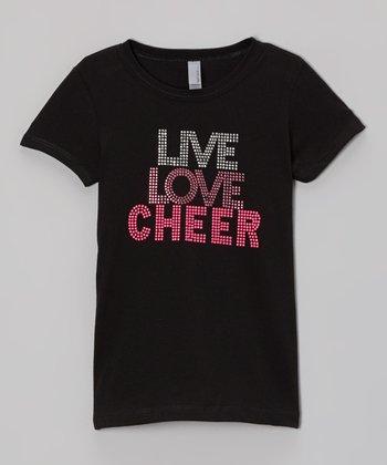 Black 'Live, Love, Cheer' Rhinestone Tee - Girls