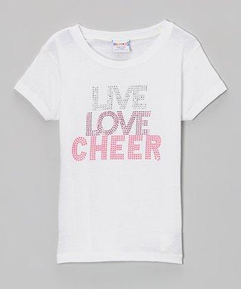 White 'Live, Love, Cheer' Rhinestone Tee - Girls