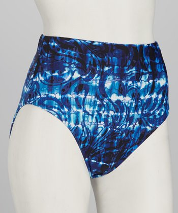 Sunsets Blue High-Waisted Bikini Bottoms