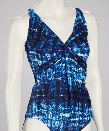 Sunsets Blue Underwire Twist Tankini Top