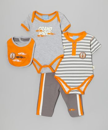Orange & Gray 'Grand Prix' Bodysuit Set - Infant