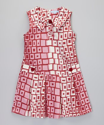 Red Geometric Block Dress - Girls