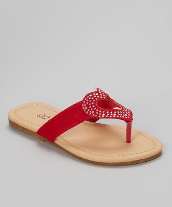 QQ Girl Red Studded Heart Bunny Sandal