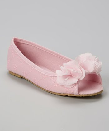 Light Pink Eyelet Peep-Toe Flat