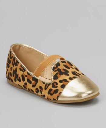 QQ Girl Leopard Lovely Metallic-Toe Flat