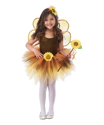 Brown & Yellow Sunflower Tutu Dress-Up Set - Toddler & Girls