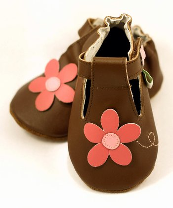 Brown Flower T-Strap Shoe