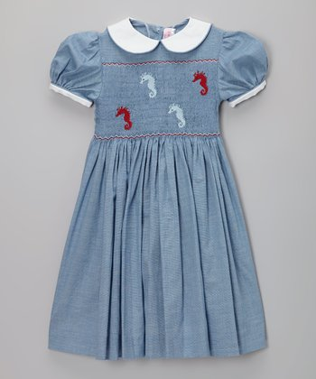 Blue Chambray Sea Horse Smocked Dress - Infant, Toddler & Girls