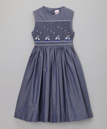 Dark Chambray Sailboat Smocked Dress - Infant, Toddler & Girls