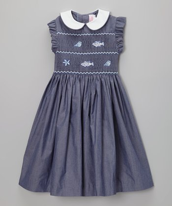 Chambray Fish & Shells Smocked Dress - Infant, Toddler & Girls