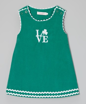 Green Shamrock 'Love' Shift Dress - Infant, Toddler & Girls