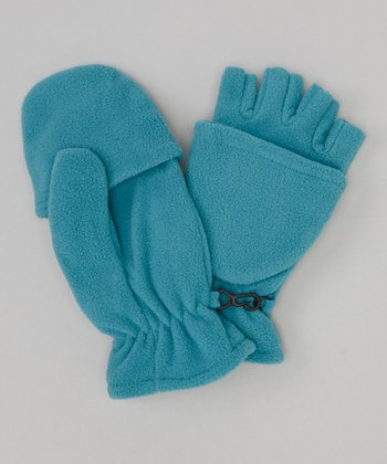 Blue Fleece Convertible Mittens