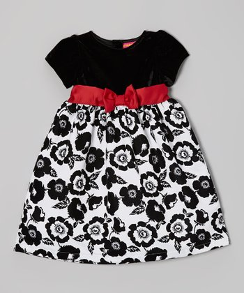 Black & White Floral Bow Dress - Infant & Toddler