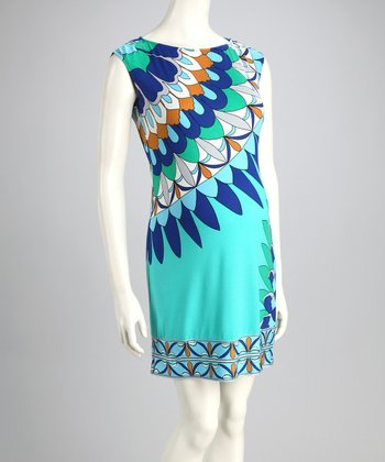 Aqua Abstract Maternity Dress - Women