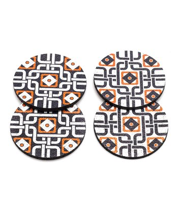 Orange Moroccan Rubber Coaster - Set of Four