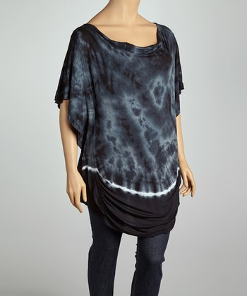 Midnight Blue Tie-Dye Drape Neck Tunic - Plus