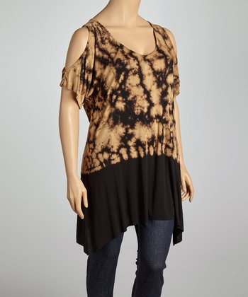 Mocha & Black Tie-Dye Cutout Tunic - Plus
